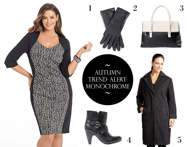 1. Sara Contrast Ponti Dress; 2. Leather Gloves; 3. Becky Bag; 4. Sara Short Heeled Boots; 5. Sara Fully Lined Coat