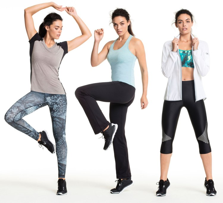 Running can be actually fun when you have friends, new activewear, music and a proper pair of shoes. Shop (L-R): Top & Pant, Tank & Pant, Jacket, Sports Bra & Pants.