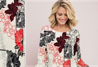 Abstract florals on this classic cut tunic - it can be dressed up or down.