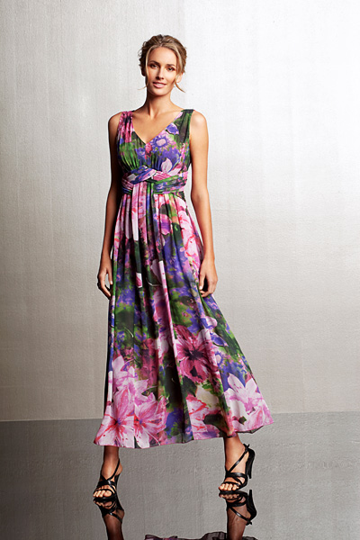 Grace Hill Long Printed Chiffon Dress