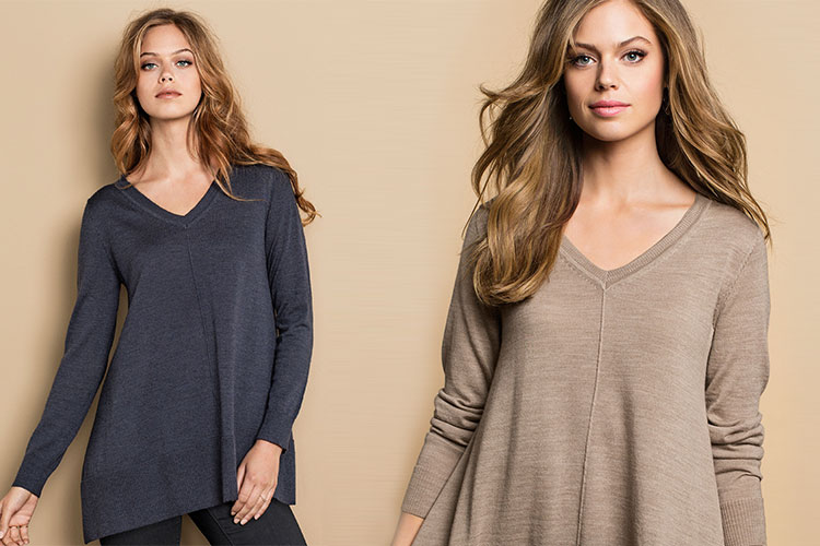 The knit is a wardrobe must have - and this Emerge V Neck Swing Knit fits the bill!