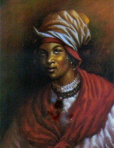 An artist rendering of Manbo CecileFatima, the priestess that orchestrated Bwa Kayiman