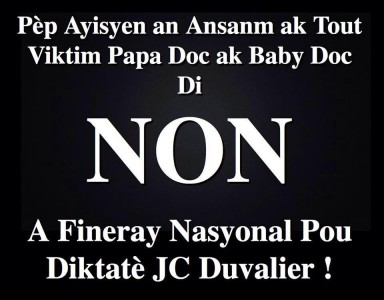 NO to State Funeral for Baby Doc