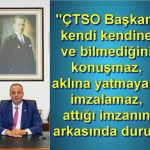 """Semizoğlu'ndan Gökhan'a sert açıklama ; """"ÇTSO Başkanı kendi kendine ve bilmediğini konuşmaz, aklına yatmayanı imzalamaz, attığı imzanın arkasında durur"""""""