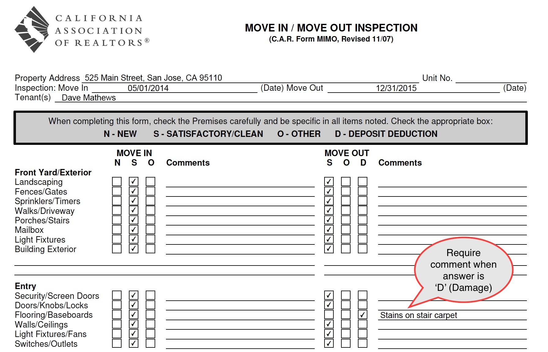 View Move-In Move-Out Inspection Report
