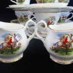 vintage hunting scene tea set