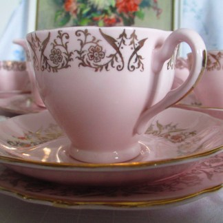 vintage cololough pink harlequin tea set