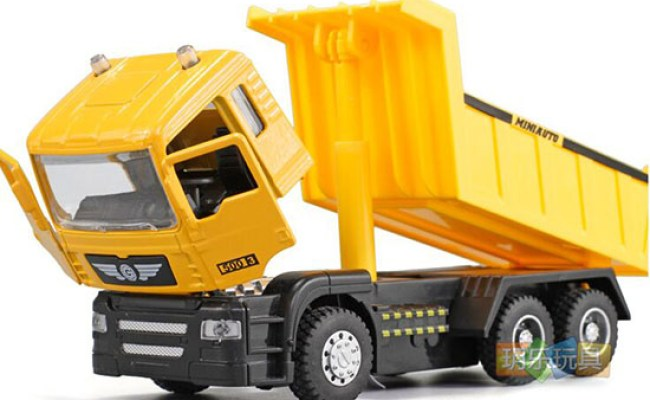 Kids Yellow Pull Back Function Diecast Dump Truck Toy