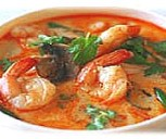 thai food : spicy soup with prawns and lemongrass