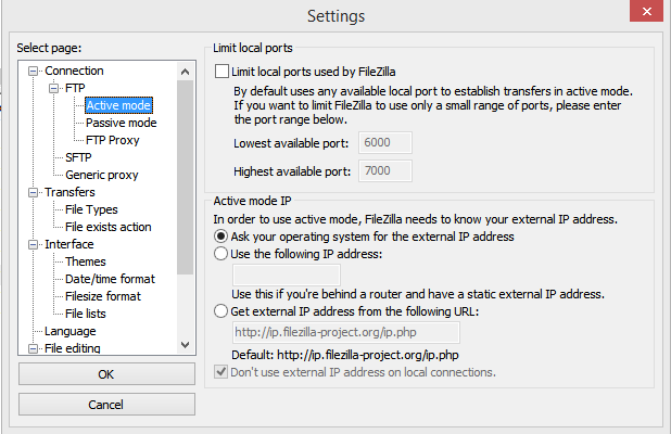 FTP Settings