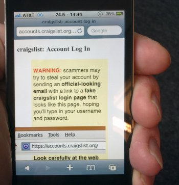 A phishing site viewed on a mobile browser