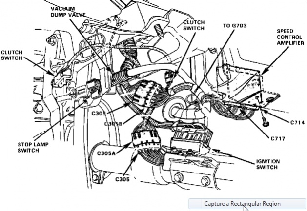 Location of cruise control amplifier and horn relay
