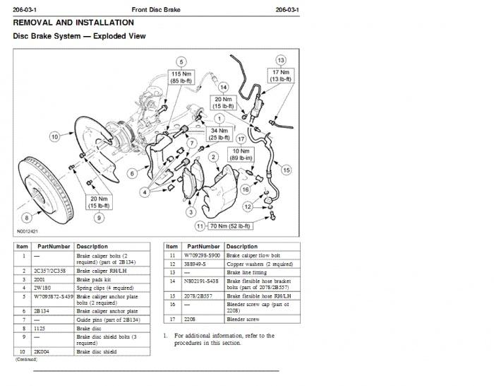 Ford ranger brake caliper torque