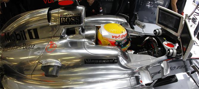 Hamilton rodando en los Libres 2 de Hungaroring