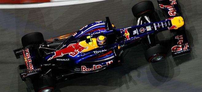 Webber rodando en los Libres 3 de Marina Bay