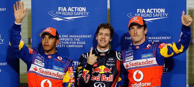 Vettel, Hamilton y Button, los tres primeros de la parrilla