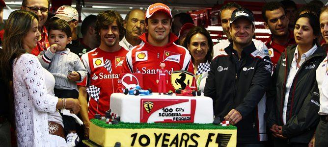 La F1 celebrando junto a Felipe Massa sus 10 años en la F1 y sus 100 grandes premios con Ferrari