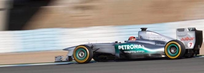 Schumacher rodando en la pista de Jerez