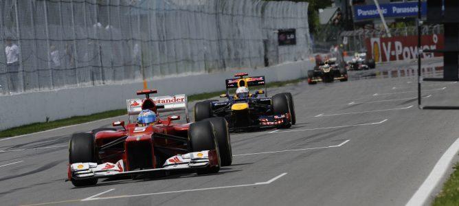 Alonso y Vettel rodando en la carrera de Canadá