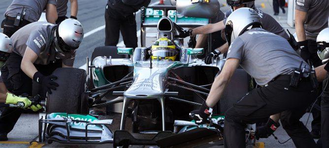 Rosberg haciendo un pit-stop