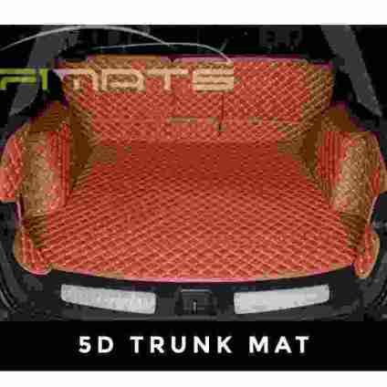 Brown Stitching Luxury Diamond Car Mats 5D Trunk Set