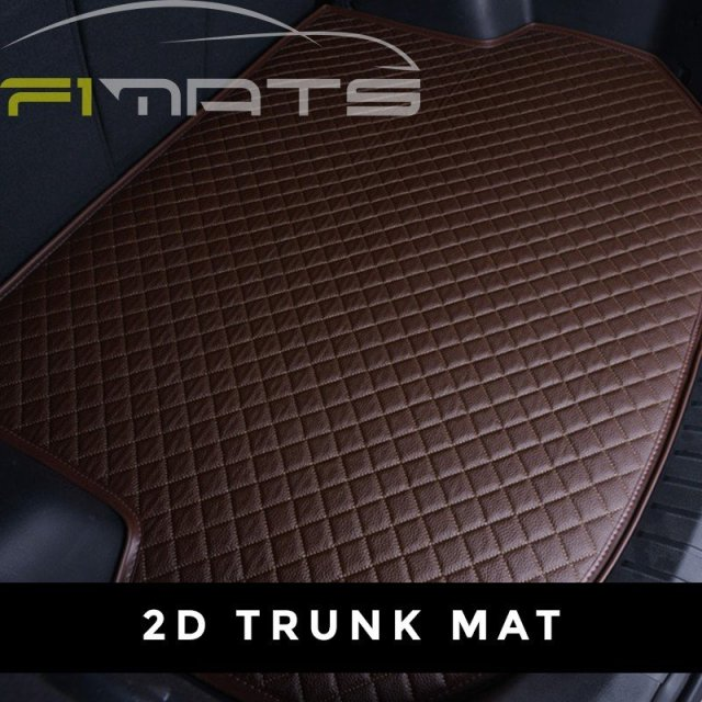 Brown Stitching Luxury Diamond Car Mat 2D Tunk Set