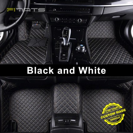 black and white diamond car mats