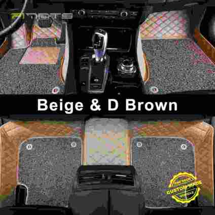 Beige & Dark Brown Luxury Double Diamond Car Mats