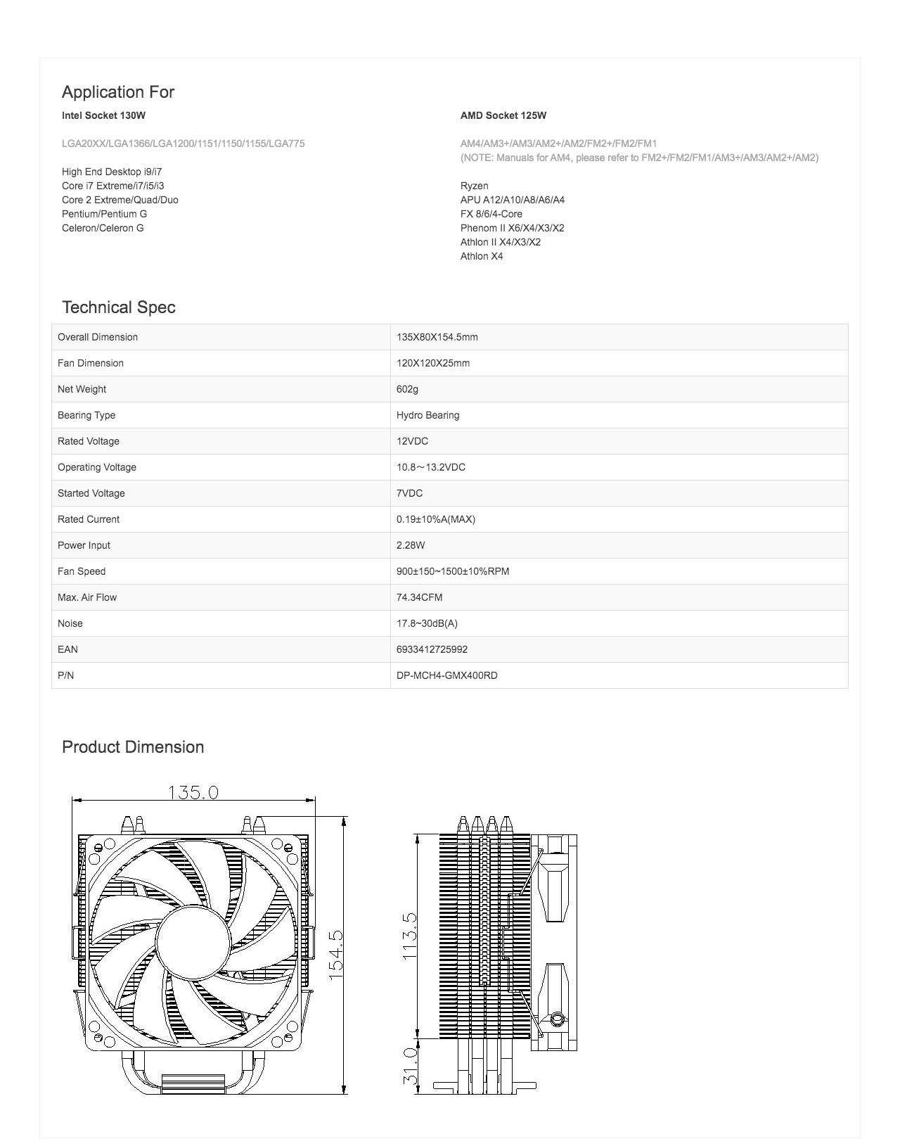 Deepcool GAMMAXX 400 120mm PWM Fan CPU Cooler – Blue