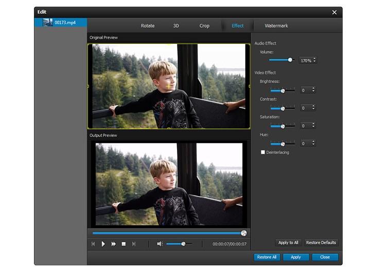 AVCHD Video Converter adjust effect
