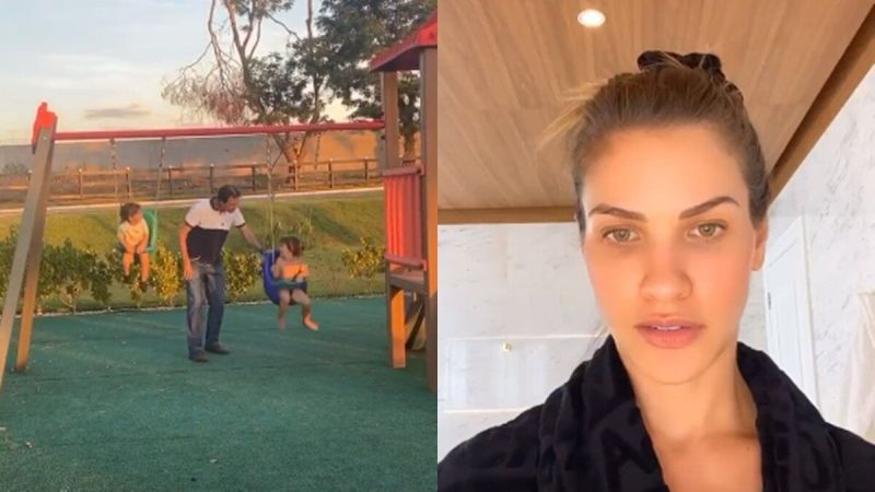 """Andressa Suita mostra os filhos se divertindo com avô no balanço na fazenda: """"Mãe tendo mini infartos"""""""