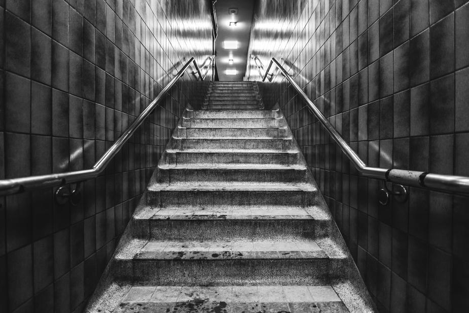 A view looking Up Subway Exit Stairs