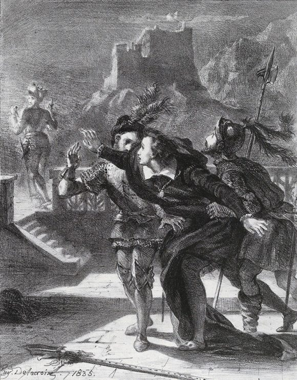 Hamlet Tries To Follow His Father's Ghost, 1835, Eugène Delacroix.  An inspiration for our exploration of the word prahps.