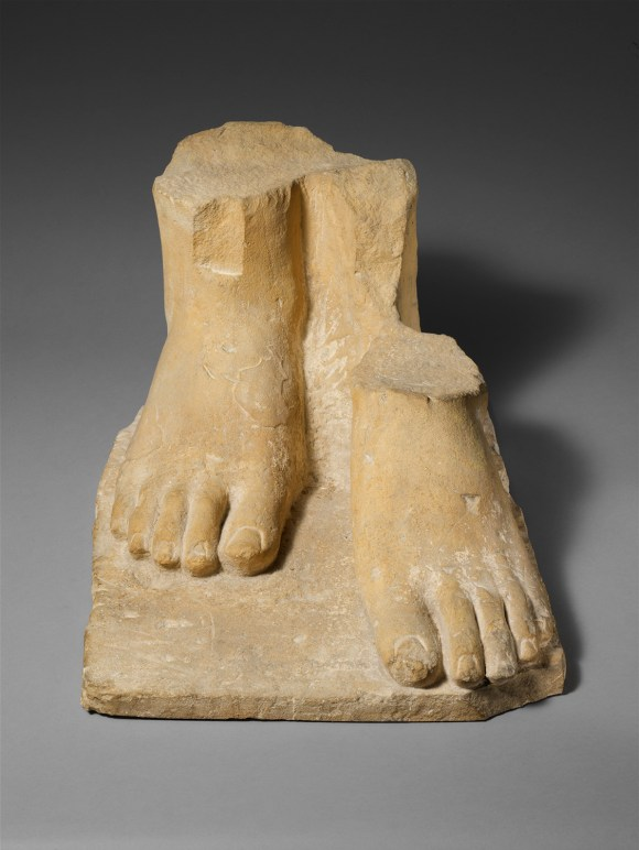 Ancient statue showing feet, also known as peds.  This is from Cyprus dating to the early to mid 6th century B.C.