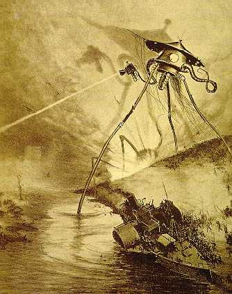 Image of H.G. Wells Martian Tripod, as illustrated by Henrique Alves Corrêa for the 1906 French edition.