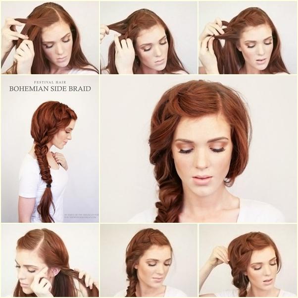 DIY Bohemian Side Braid Hairstyle Fab Art DIY