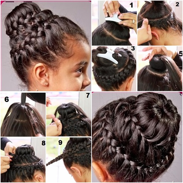 How To Double Crown Braid With Donut Bun DIY Tutorials