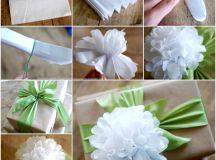 DIY Easy Tissue Paper Flower Gift Topper
