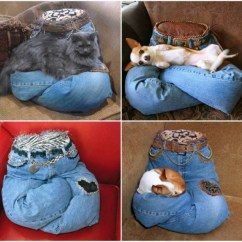 No Sew Bean Bag Chair Ghost Dining Chairs Diy Portable Recycled Jean Pet Pillow Tutorial