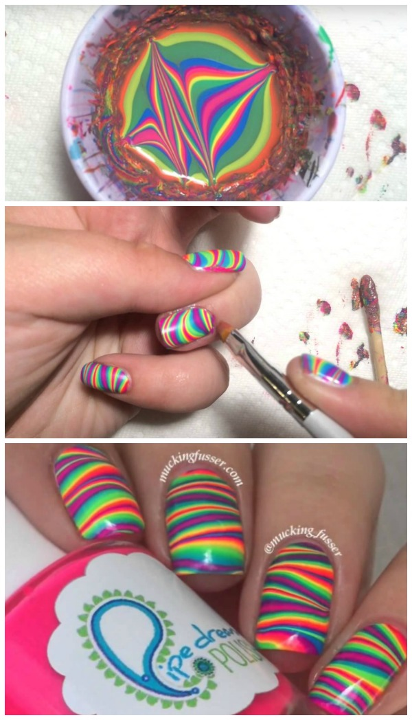 Diy Rainbow Water Marble Nail Art Tutorial