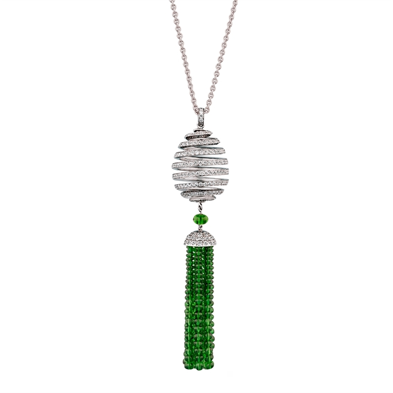 Spiral Diamond and Tsavorite Tassel Pendant