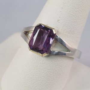 Sterling Silver and 18k Yellow Gold Amethyst Ring - $440