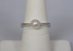 Forged Sterling Silver Ring with Pearl - $250