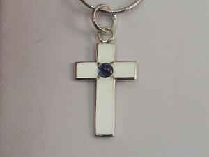 Sterling Silver Sapphire Cross - $100