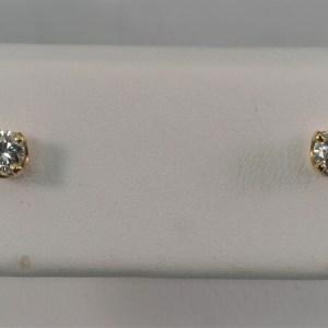 14k Yellow Gold, .22ctw Diamond Stud Earrings - $640