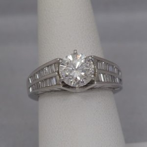 18k White Gold Baguette Diamond Ring, appox 2ct I1 Center Diamond - $10,000