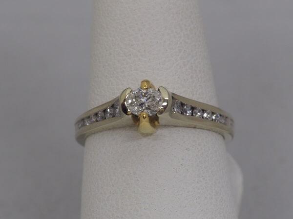 18k Gold Ring, .34ct Oval Center Diamond, .26ctw Side Diamonds - $2,400