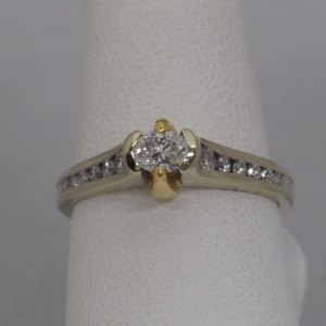 18k Gold Ring, .34ct Oval Center Diamond, .26ctw Side Diamonds - $2,400