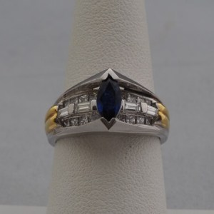 Platinum and 18k Yellow Gold, Marquise Sapphire and Diamond Ring - $2,600