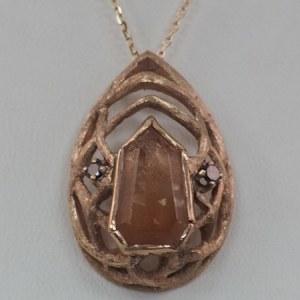 Sunstone, Black Diamond, 14k Rose Gold Pendant - $1,300
